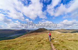 A female hiker walking a narrow trail towards the summit of Great Borne with Ennerdale Water to the left and Starling Dodd behind. The English Lake District, UK.