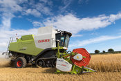 Combining Barley with a Claas Lexicon 760 combine and a 35ft header, with mounted cameras for better visability to driver. No...