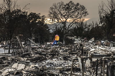 A kid's slide miraculously survives the Valley Fire in Middletown.