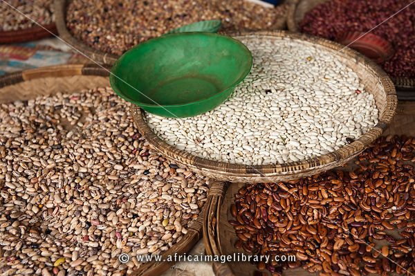 beans for sale at the market, Nkhata Bay, Malawi