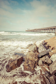 Newport Pier Rocks Retro Photo