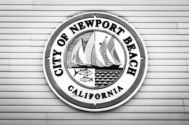 City of Newport Beach Sign Black and White Picture