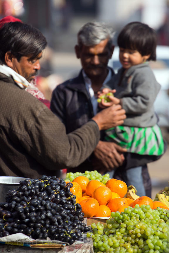 A man buys fruit for his daughter at a market stand, Pushkar, Rajasthan, India