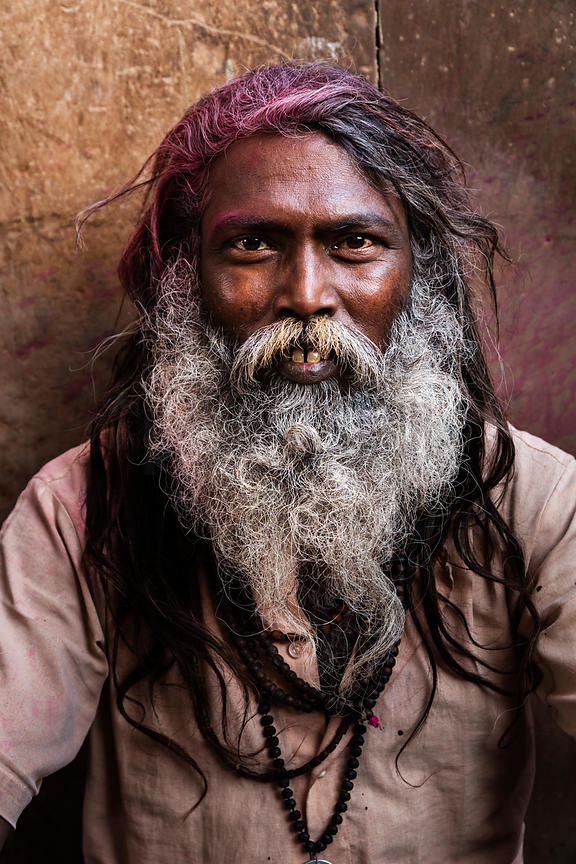 Portrait of a Sadhu with Long Hair and White Beard