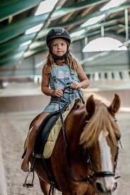 Young Danish girl riding a horse