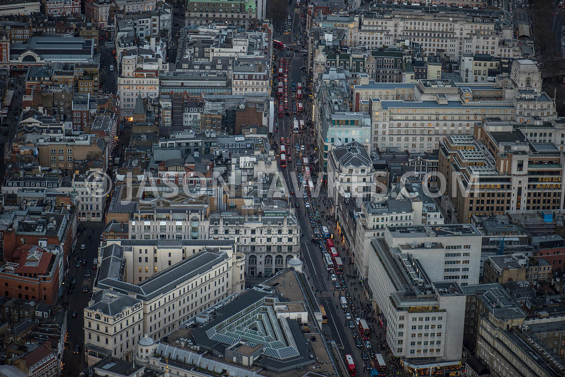 Aerial view of London, Chandos Place with Charing Cross,