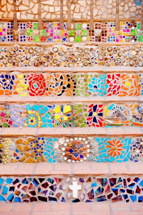 SANTA FE NEW MEXICO ORNAMENTAL STAIRS MOSAIC COLOR VERTICAL