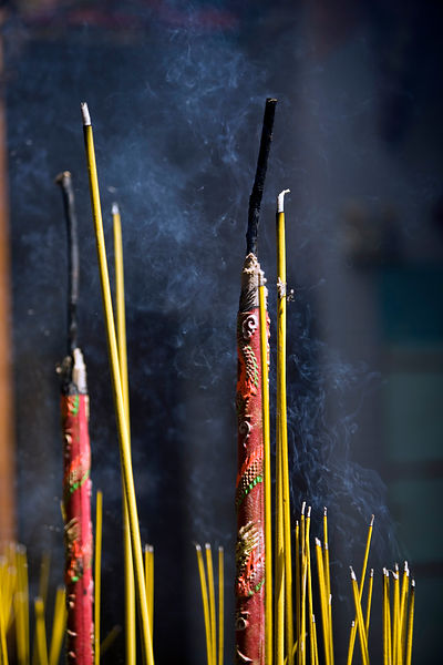 Incense burns at the Thien Hau Pagoda