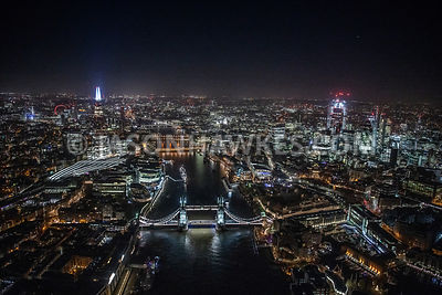 London night aerial view. Tower Bridge, River Thames, City of London and the Shard.