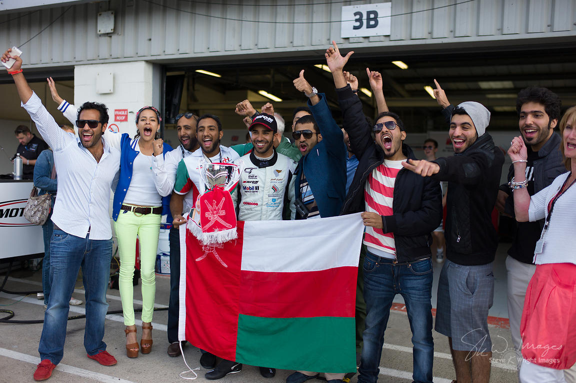 In the pit lane post-race with the Oman Racing Team. Winning driver Ahmad Al Harthy celebrates at the Silverstone 500 - the t...