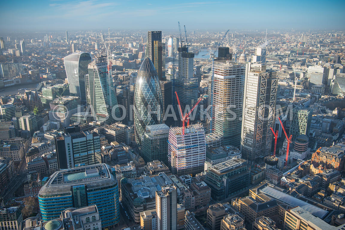 Aerial view of London, St Botolph's Building towards Heron Tower, 30 St Mary Axe and 20 Fenchurch Street.