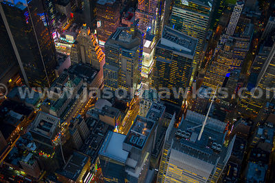 Aerial view of the buildings west of Times Square, including the New York Times Building and Times Square Plaza