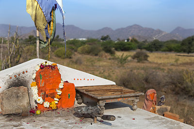 Small temple in the desert, Chainpura village, Rajasthan, India