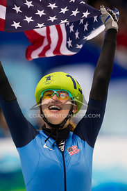 Feb 26, 2010: Pacific Coliseum, Vancouver, BC. Katherine Reutter of USA Celebrates her Silver Medal in the 1000m Short Track Speed Skating at the Vancouver 2010 Winter Olympics. Photo by Scott Brammer/coastphoto.com
