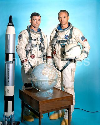 (July 1966) --- Gemini-10 prime crew portrait with astronauts John W. Young (left), command pilot, and Michael Collins, pilot.