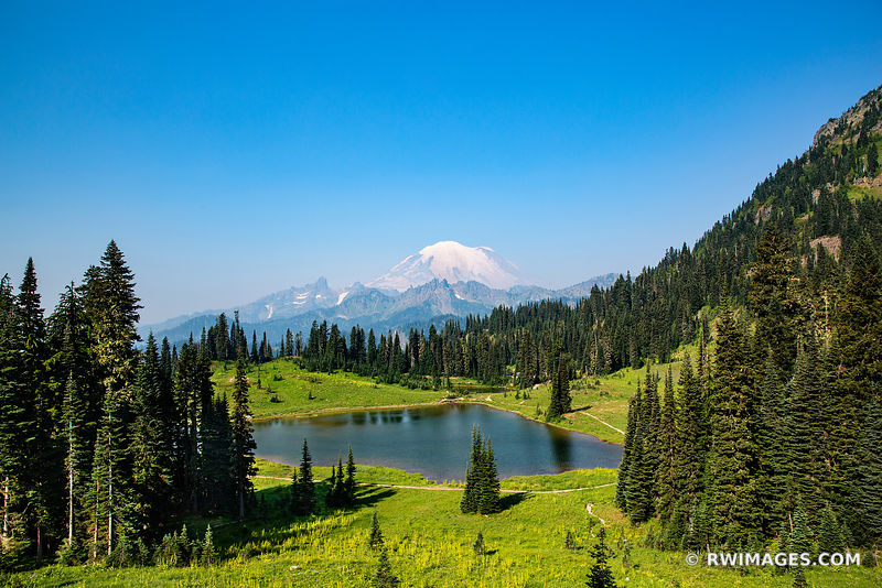 TIPSOO LAKE MOUNT RAINIER WASHINGTON COLOR LANDSCAPE