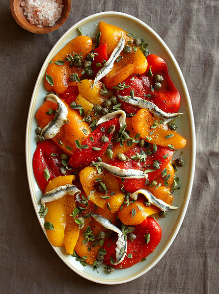 roasted sweet peppers and anchovies