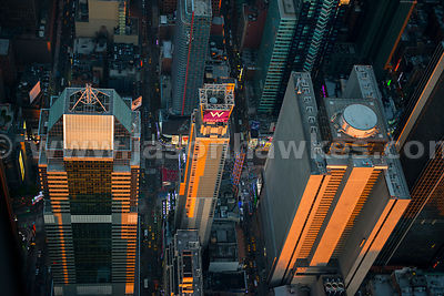 Close up aerial view of buildings next to Times Square, Midtown Manhattan