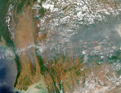 EARTH Southeast Asia -- 30 Mar 2005 --The dry season has taken hold in southeast Asia, as this satellite image of dense smoke...