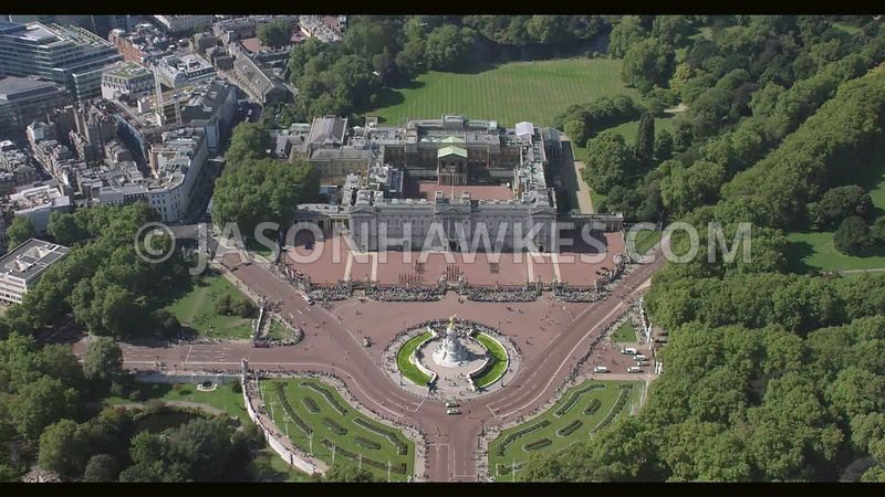 Aerial footage of Buckingham Place, London.