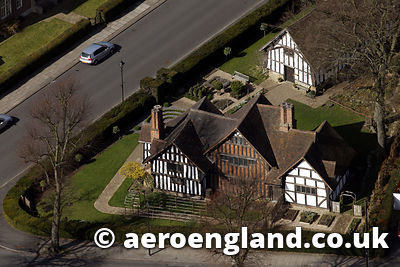 aerial photograph of Selly Manor Birmingham, England UK,  is a cruck-framed timber 14th-century Manor House  which was built ...