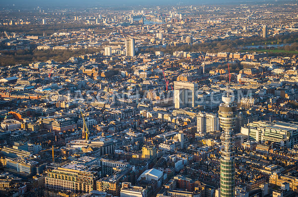 Aerial view of London, Regent Street towards Mayfair with Oxford Circus.