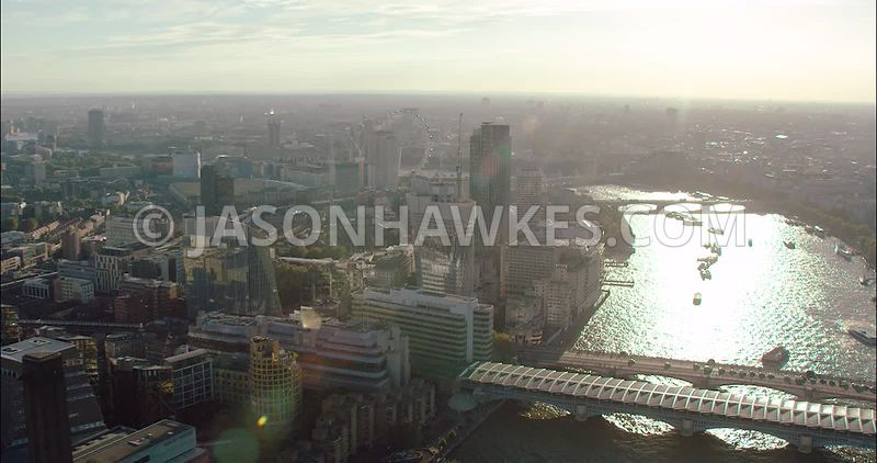 London Aerial Footage of Blackfriars Bridges and River Thames.