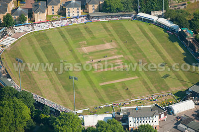 Aerial view over cricket pitch