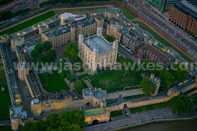 Aerial view of The Tower of London at dusk, Tower Hamlets, London
