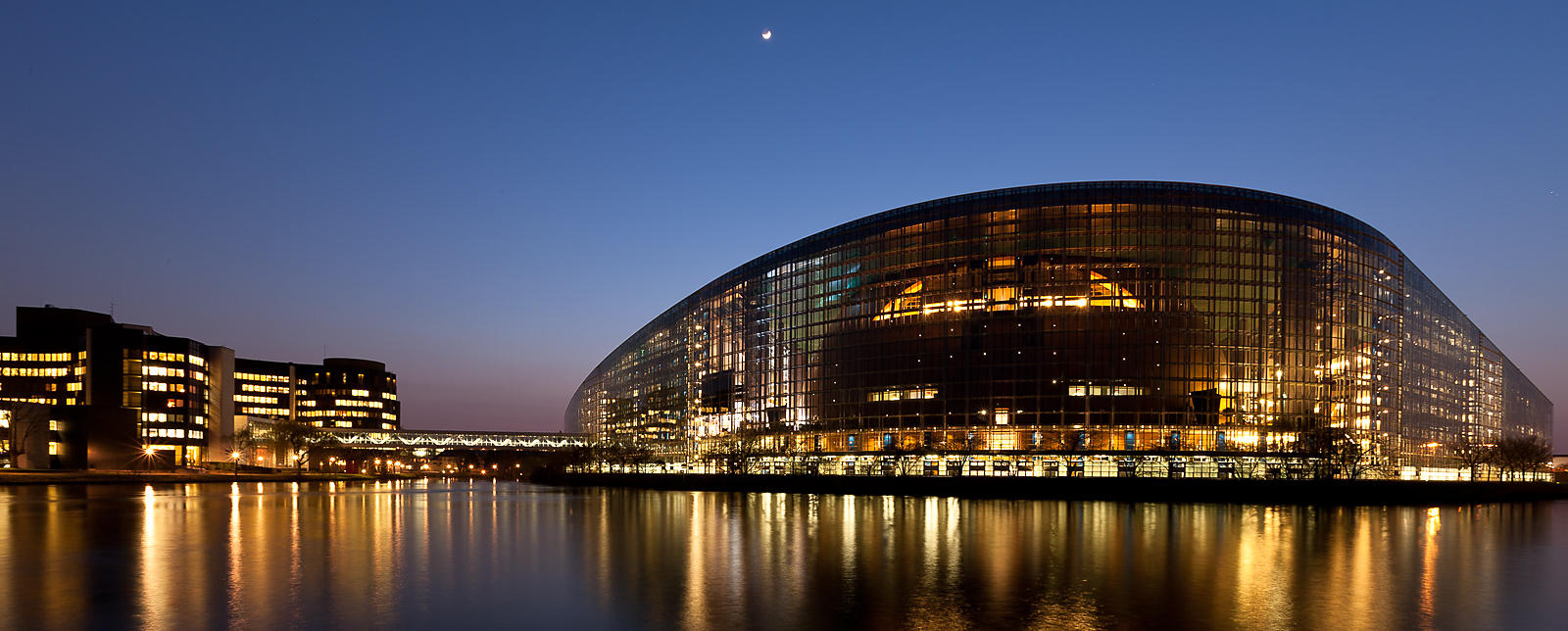 European Parliament by night
