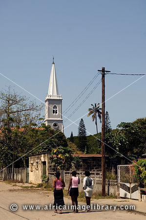 Beira Cathedral, erected between 1907 and 1925 using the stones taken from the Portuguese fort at Sofala, Beira, Mozambique.