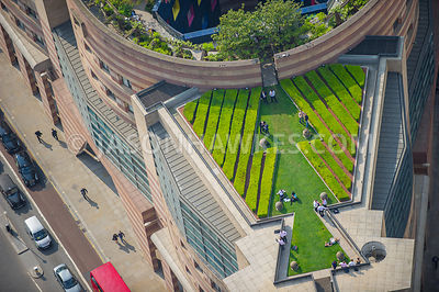 Aerial view over 1 Poultry roof garden, London