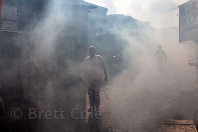A fog of mosquito insecticide fills the street in the Dharavi slum, Mumbai, India. The spray is used to help control malaria.