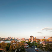 Fort Street and Sydney Harbor Bridge at sunset from Observatory Park, Sydney, New South Wales, Australia