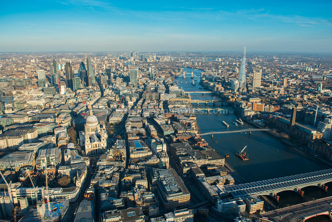St Pauls, and City of London, aerial view