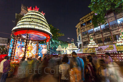 The elaborate Durga Puja pandal at Kalighat, Kolkata, India.
