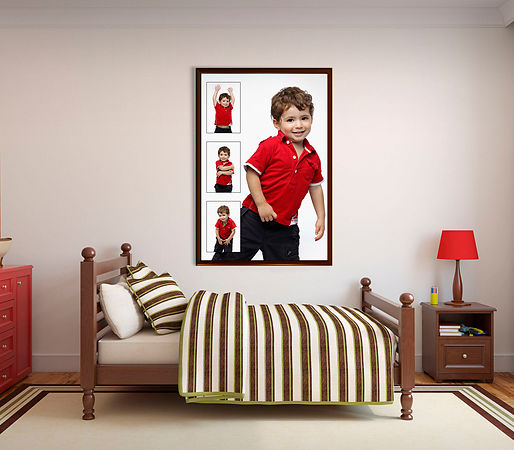 35752194 - bedroom for boy. frontal view. 3d render.