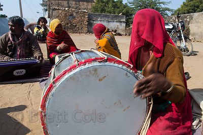 Musicians entertain a wealthy Rajput family in remote Banwal village, Rajasthan, India
