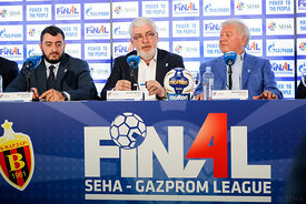 Boris Sapozhnikov, Alexander Meshkov and Mihajlo Mihajlovski during the Final Tournament - Closing press conference - Final F...
