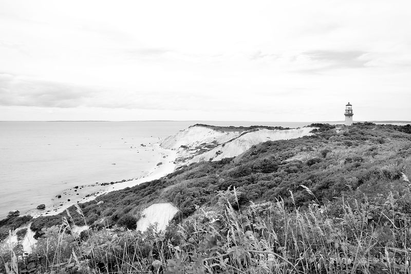 GAY HEAD LIGHTHOUSE AQUINNAH MARTHA'S VINEYARD BLACK AND WHITE