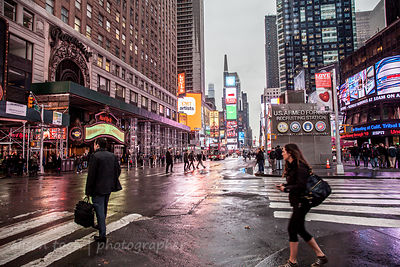 Times Square in the rain