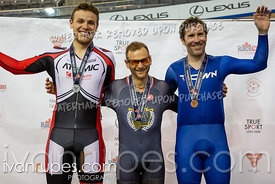 Cat 2 Men Scratch Race Podium. Eastern Track Challenge/O-Cup #3, February 10, 2019