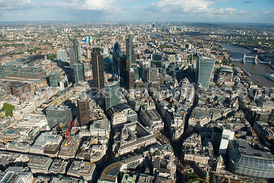 Aerial view of Bank, City of London