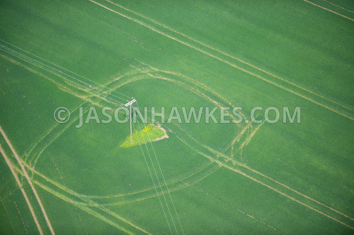 Aerial view of fields near Standon, Hertfordshire