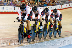 Team Canada at Women's Team Pursuit Qualification, Track Day 1, Toronto 2015 Pan Am Games, Milton Pan Am/Parapan Am Velodrome...