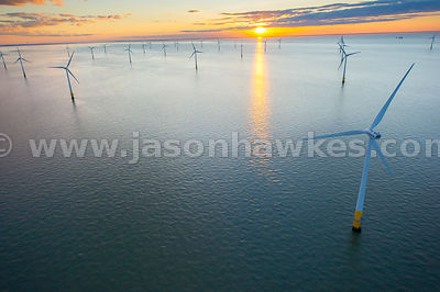Aerial view off shore windfarm