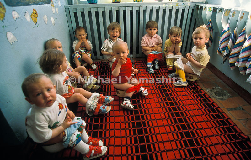 Communal toilet training gathers toddlers at a Paramushir nursery school. Most of their parents work on fishing boats and pro...