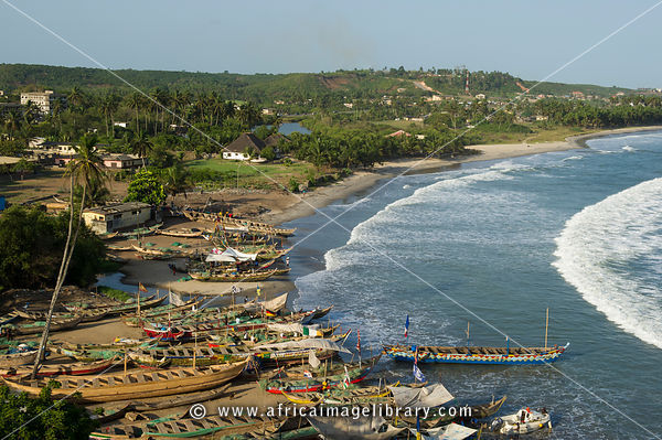 View from Fort Amsterdam of pirogues lying on the beach, Abanze, Ghana