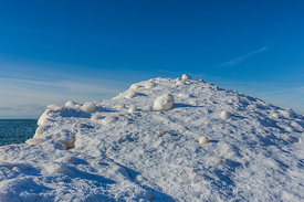Ice Balls Created During Winter Storms in Rosy Mound Natural Area along Lake Michigan