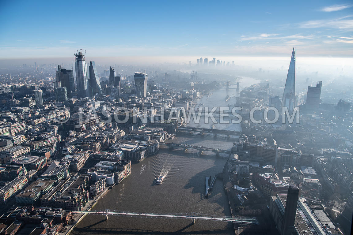 Dawn aerial view over River Thames, City of London, Tate Modern and the Shard, London